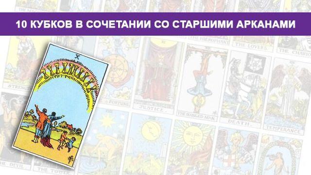 Десятка Кубков в сочетании с другими картами Таро: значение